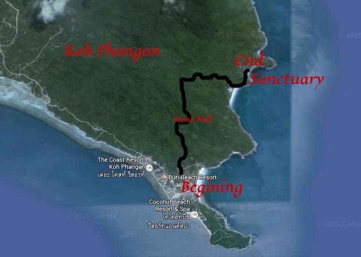 Hiking in Thailand on Koh Phangan Map