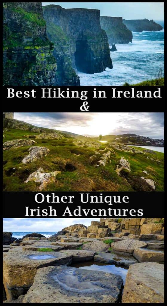 Best Hiking in Ireland Pinterest Pin with images of Ireland and the name of the article Best Hiking in Ireland