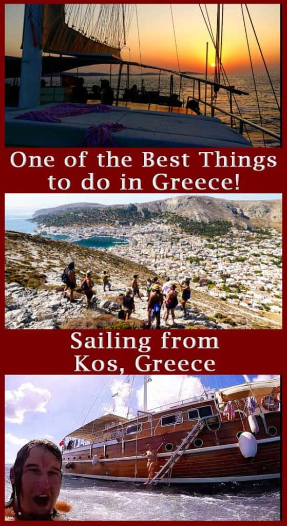 One of the Best things to do in Greece Pinterest Pin. Images of a sailboat and greece with the title of the article on the image.