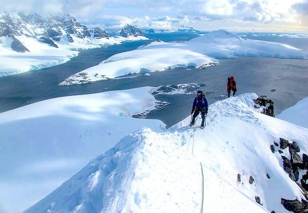 mountaineering in Antarctica on a glacier