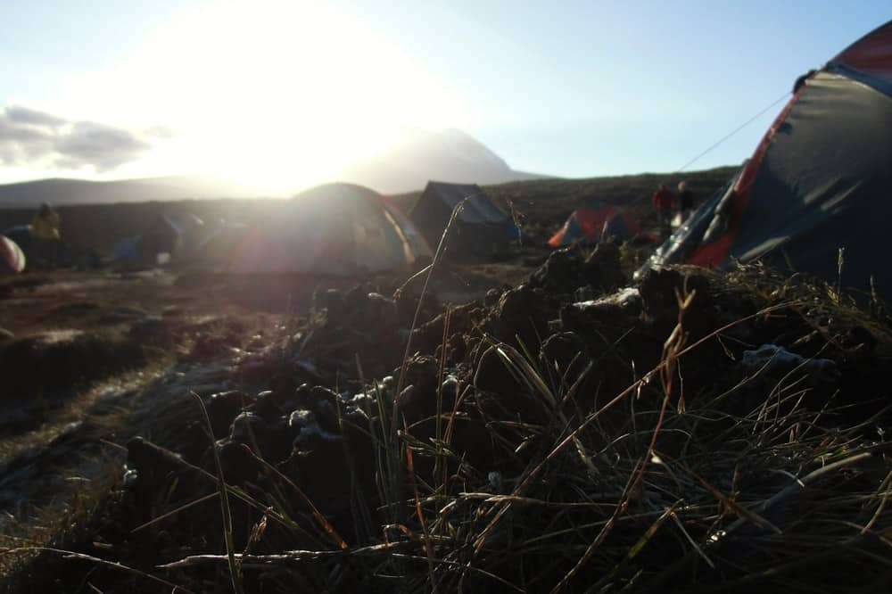 Mount Kilimanjaro sunrise in a base camp