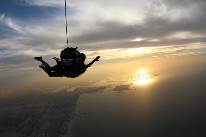 Sky diver over dubai